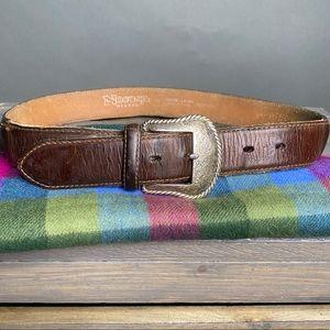 Nocona Brown Leather Belt 32 silver Buckle